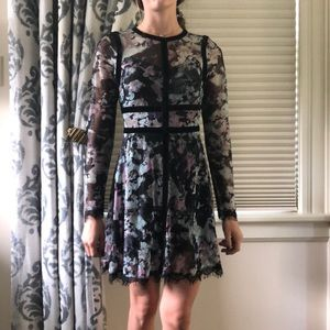 Black and blue and purple floral dress